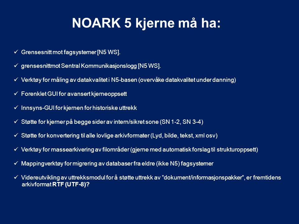 NOARK 5 kjerne må ha: Grensesnitt mot fagsystemer [N5 WS].